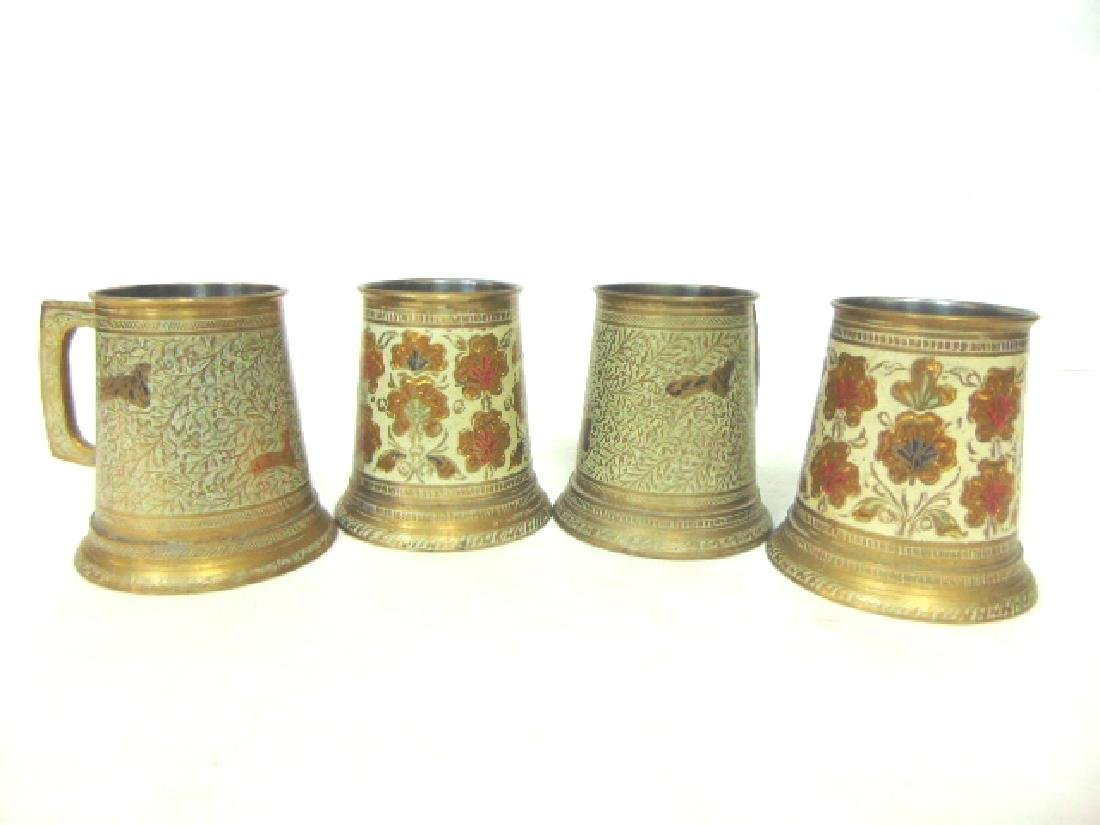 SET OF 4 BRASS PLATED MUGS WITH HAND HAMMERED DESIGNS