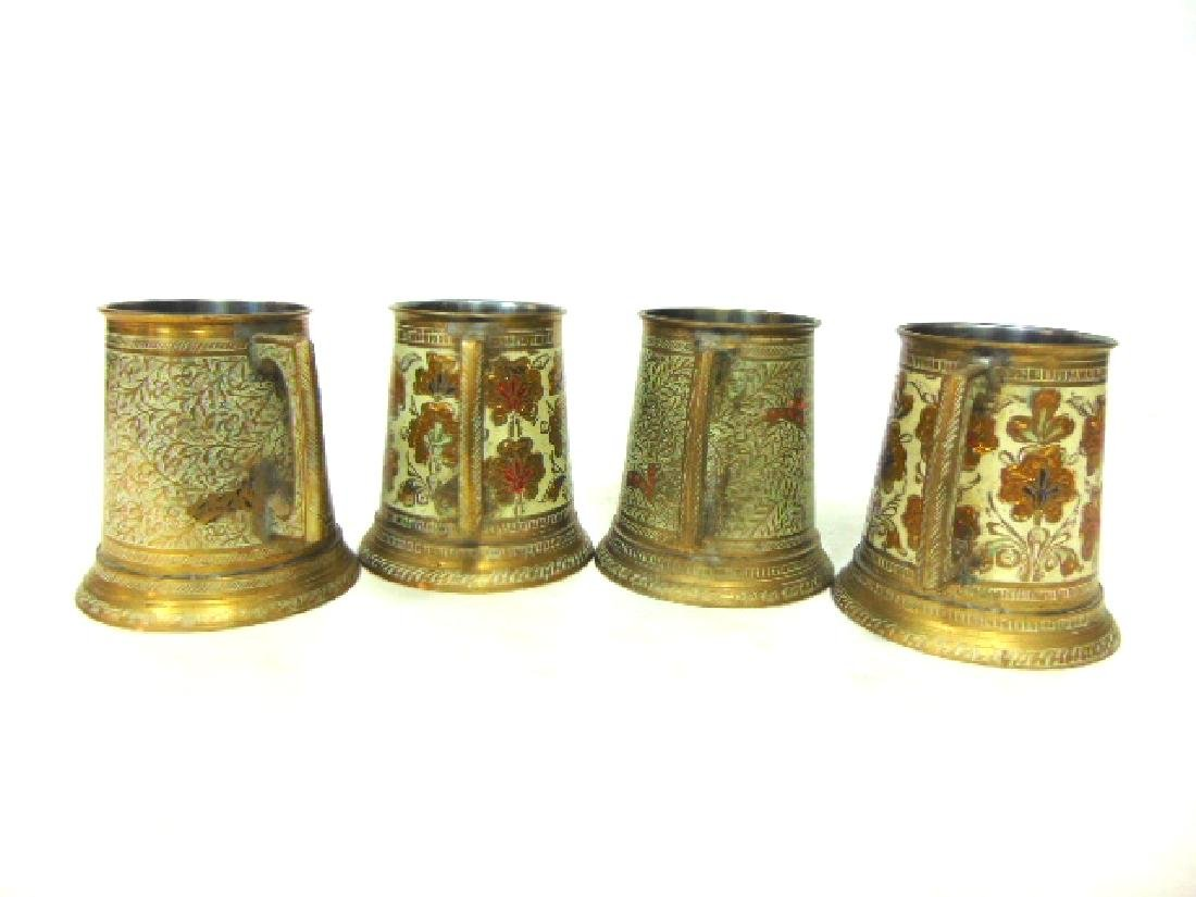 SET OF 4 BRASS PLATED MUGS WITH HAND HAMMERED DESIGNS - 2