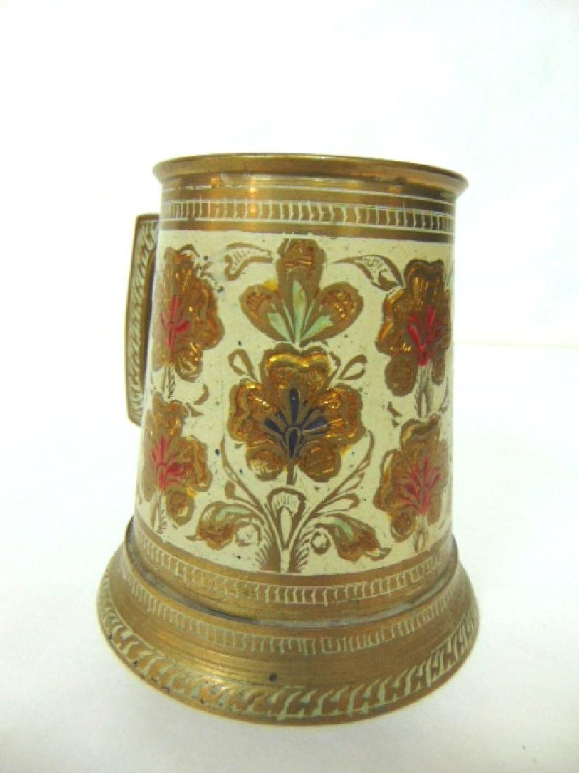 SET OF 4 BRASS PLATED MUGS WITH HAND HAMMERED DESIGNS - 3