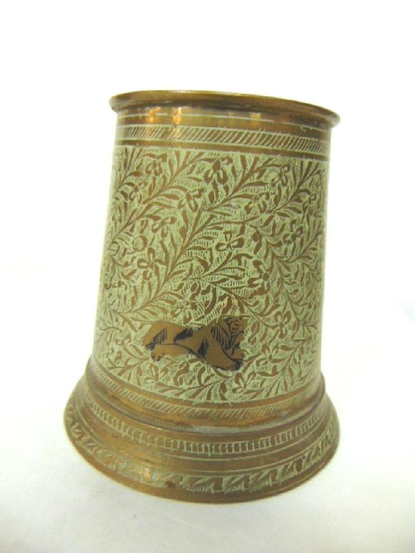SET OF 4 BRASS PLATED MUGS WITH HAND HAMMERED DESIGNS - 4