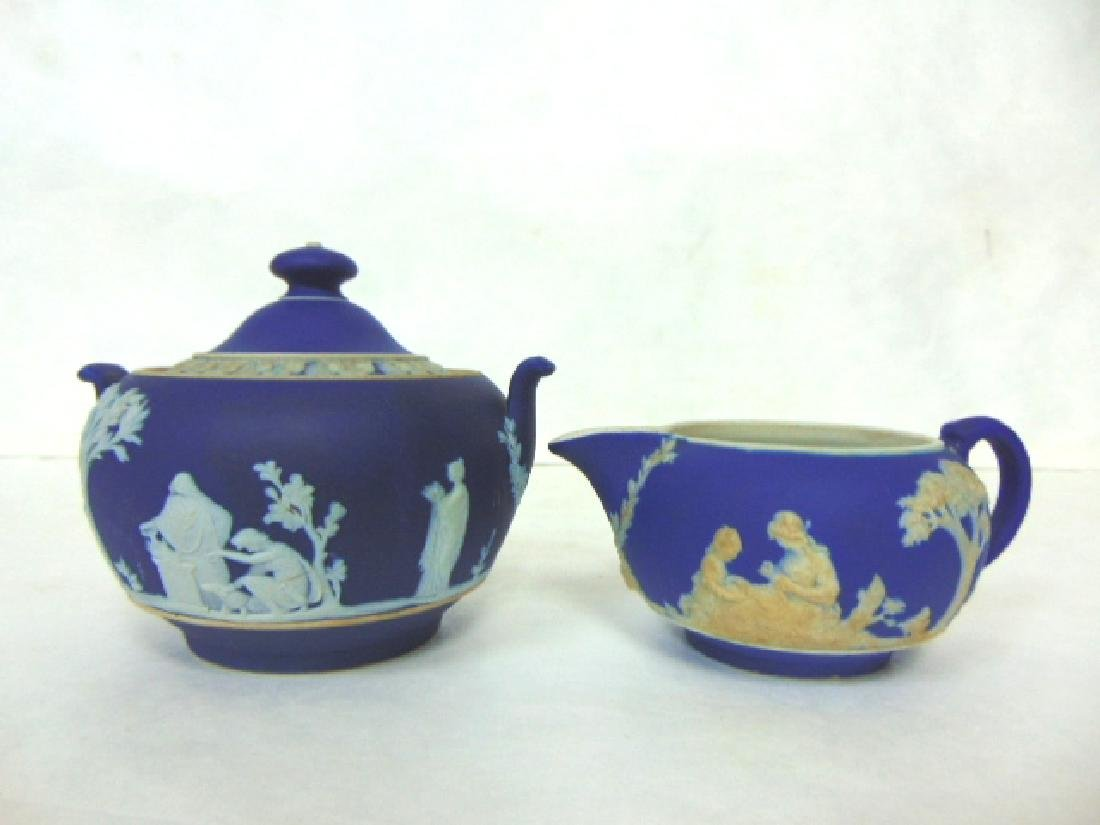 ANTIQUE WEDGWOOD PORCELAIN COBALT JASPERWARE CREAMER
