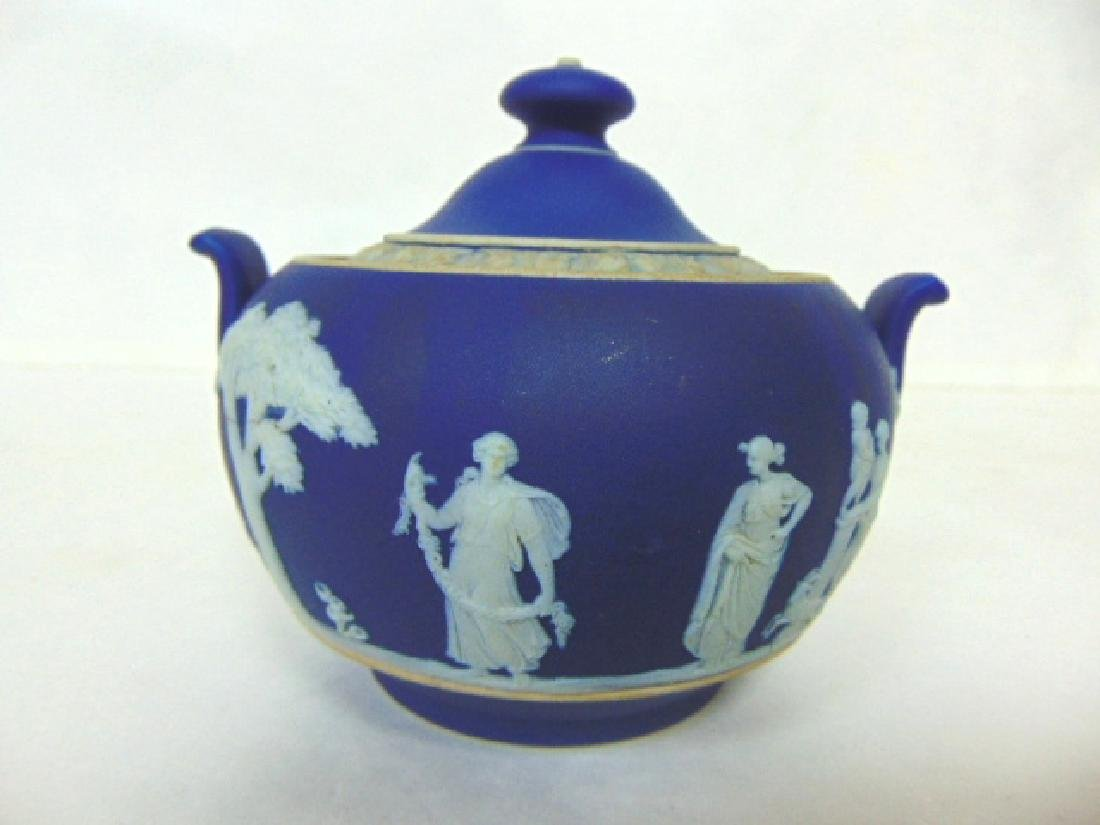 ANTIQUE WEDGWOOD PORCELAIN COBALT JASPERWARE CREAMER - 2