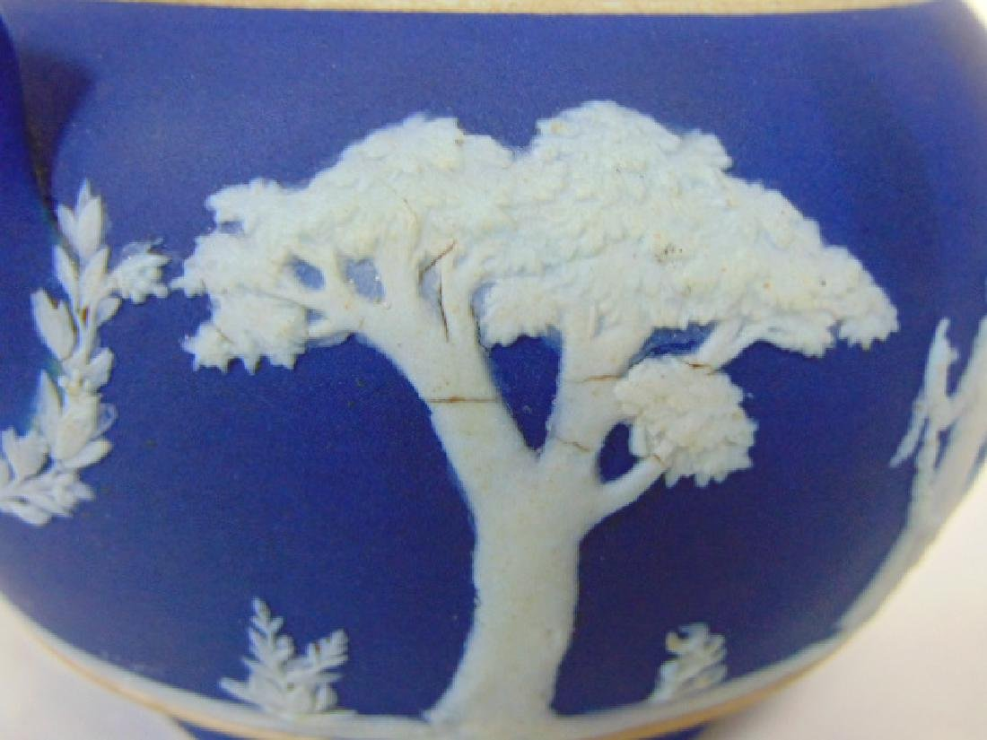 ANTIQUE WEDGWOOD PORCELAIN COBALT JASPERWARE CREAMER - 8
