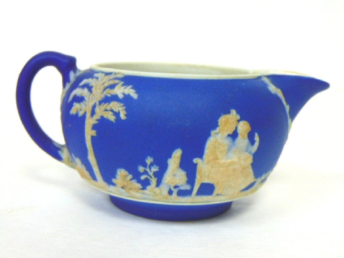 ANTIQUE WEDGWOOD PORCELAIN COBALT JASPERWARE CREAMER - 9