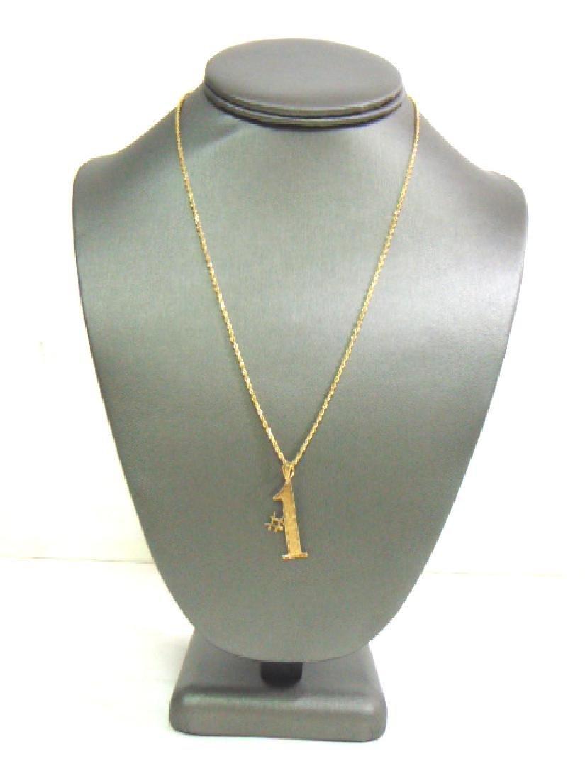 Vintage Estate 14K Gold Rope Necklace W/ #1 Pendant
