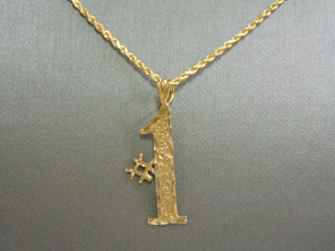 Vintage Estate 14K Gold Rope Necklace W/ #1 Pendant - 2