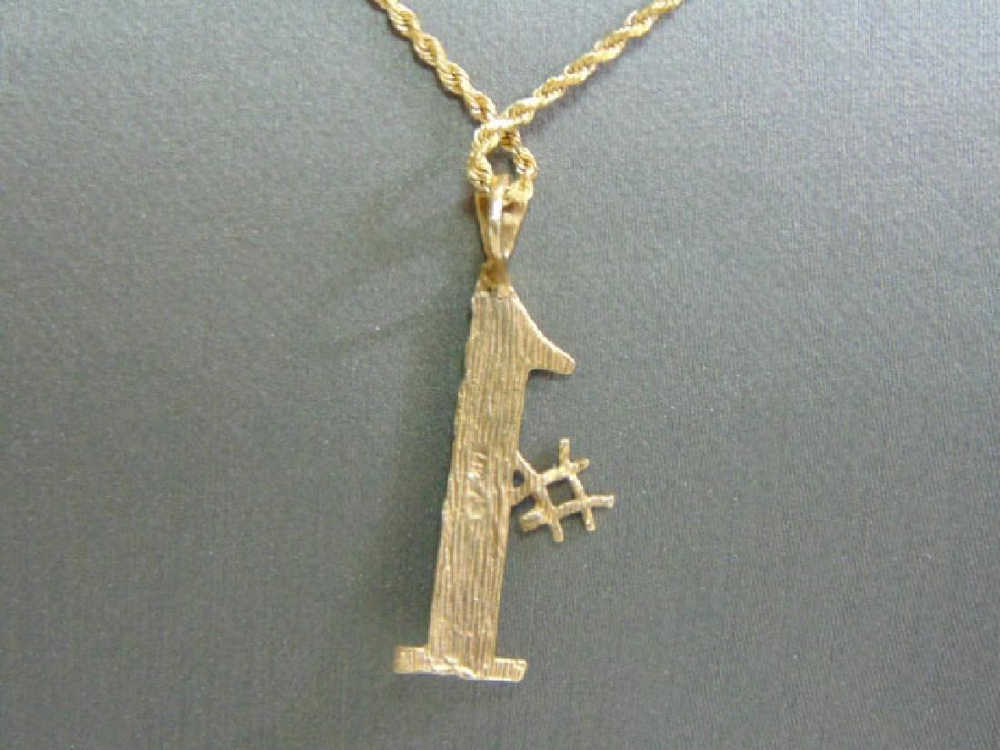 Vintage Estate 14K Gold Rope Necklace W/ #1 Pendant - 3