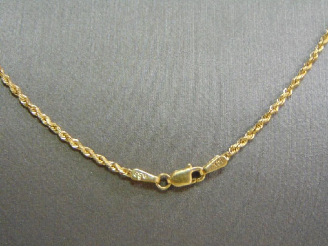 Vintage Estate 14K Gold Rope Necklace W/ #1 Pendant - 4