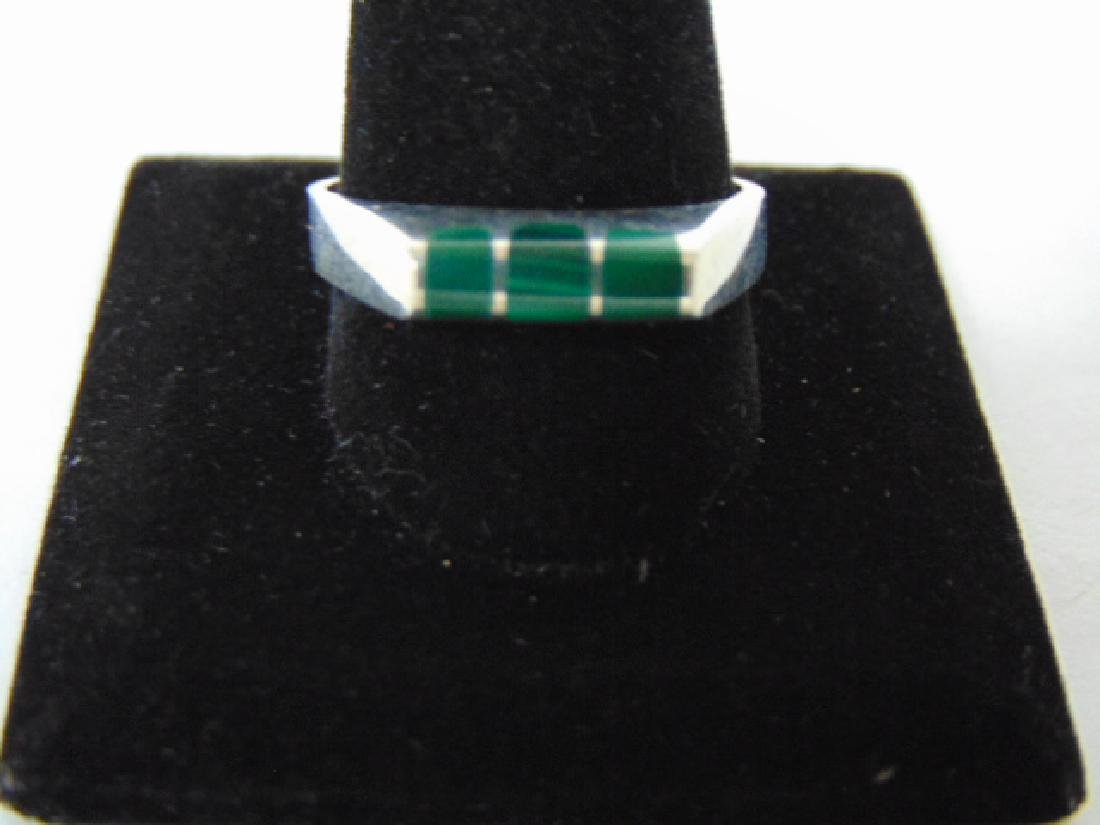 Mens Sterling Silver Ring w/ Malachite