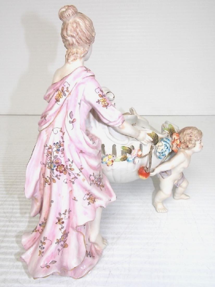 VICTORIAN PORCELAIN CHERUB & WOMAN FIGURINE - 5