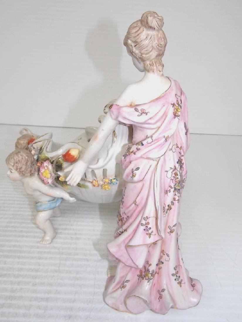 VICTORIAN PORCELAIN CHERUB & WOMAN FIGURINE - 6