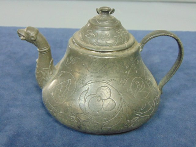 ANTIQUE CHINESE PEWTER ETCHED TEAPOT