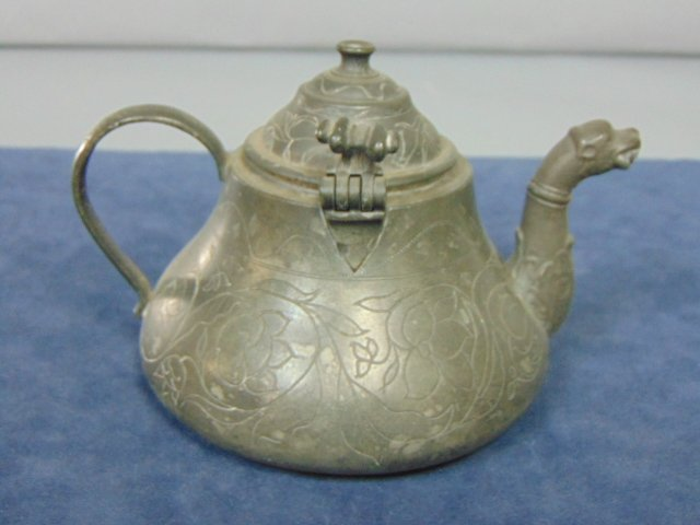 ANTIQUE CHINESE PEWTER ETCHED TEAPOT - 3