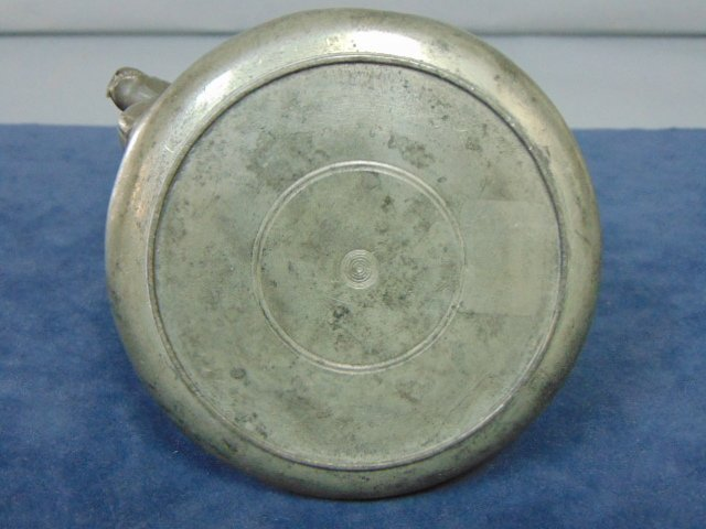 ANTIQUE CHINESE PEWTER ETCHED TEAPOT - 5