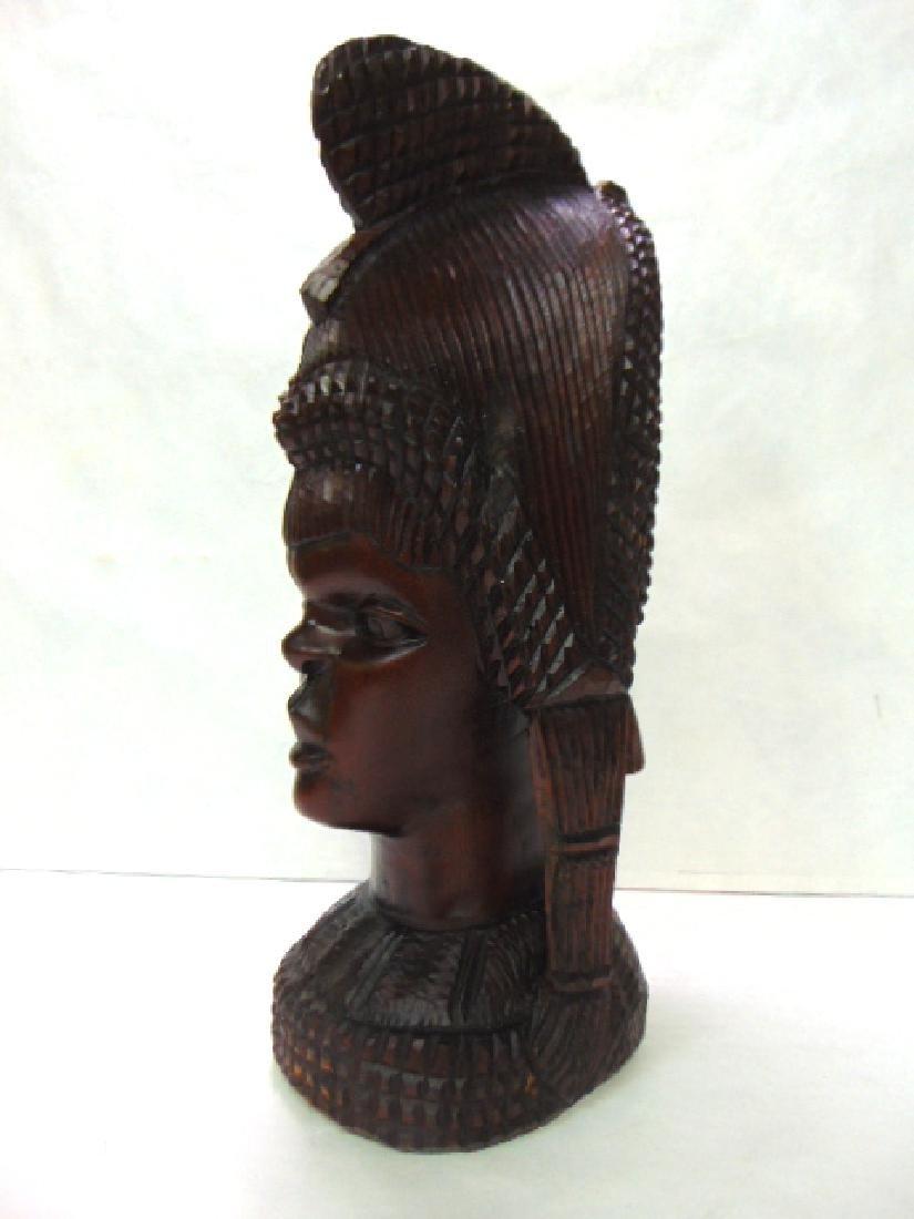 VINTAGE ANTIQUE HAND CARVED AFRICAN PRINCESS BUST - 2