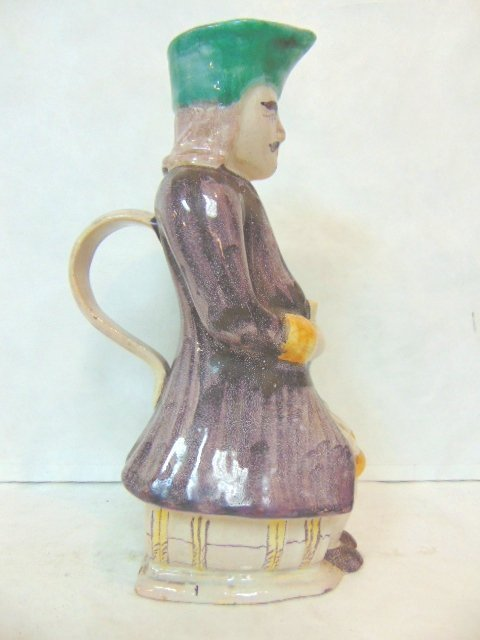 ANTIQUE HAND PAINTED TOBY JUG PITCHER - 2