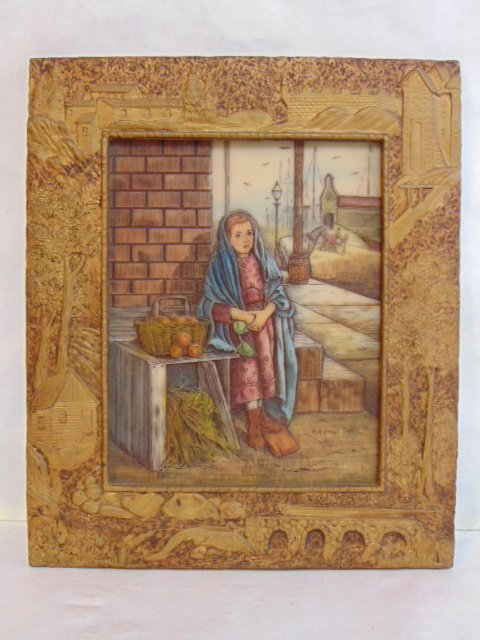 BEAUTIFUL VINTAGE ARTINI RESIN PICTURE W/ FRAME