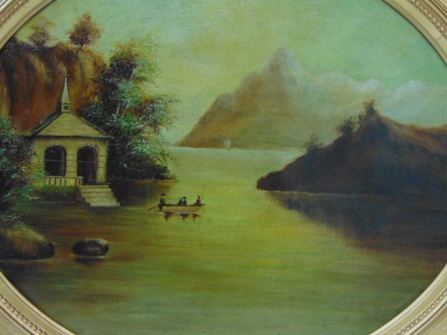 ANTIQUE 19TH C. OIL ON CANVAS FLOOD SCENE PAINTING - 2