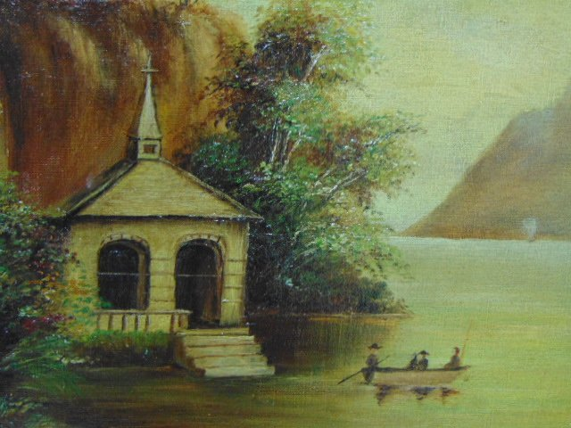 ANTIQUE 19TH C. OIL ON CANVAS FLOOD SCENE PAINTING - 3