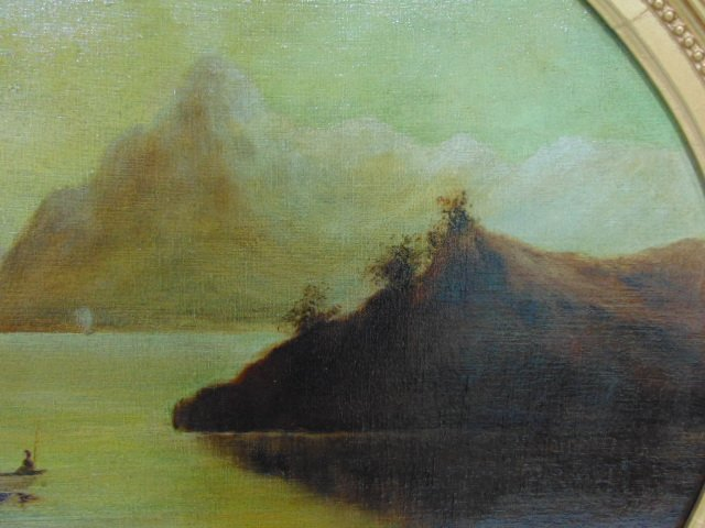 ANTIQUE 19TH C. OIL ON CANVAS FLOOD SCENE PAINTING - 4