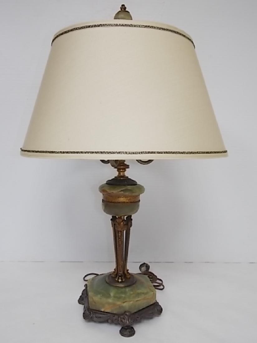 ANTIQUE VICTORIAN ART NOUVEAU GREEN ONYX LAMP