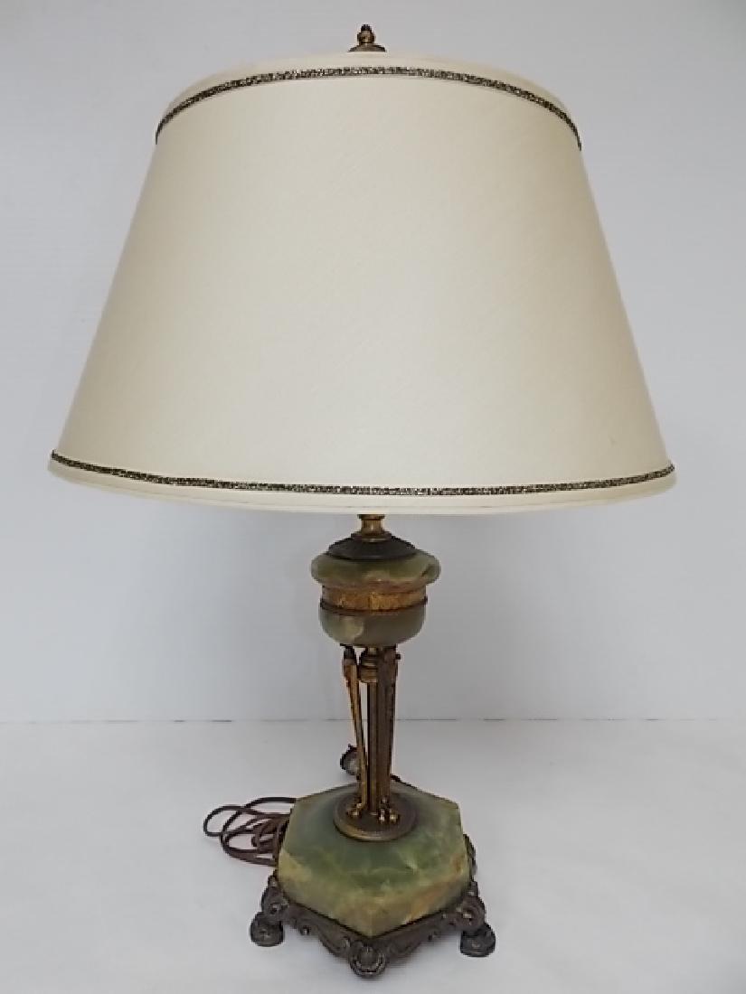 ANTIQUE VICTORIAN ART NOUVEAU GREEN ONYX LAMP - 2