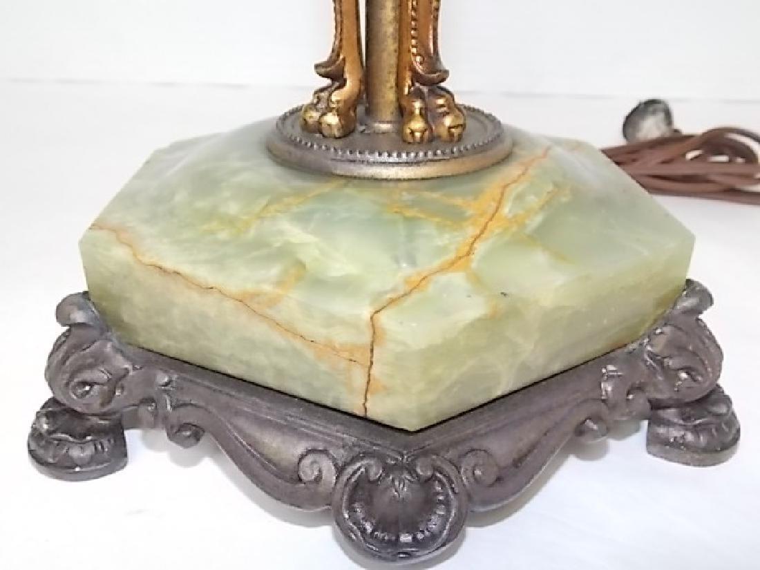 ANTIQUE VICTORIAN ART NOUVEAU GREEN ONYX LAMP - 7
