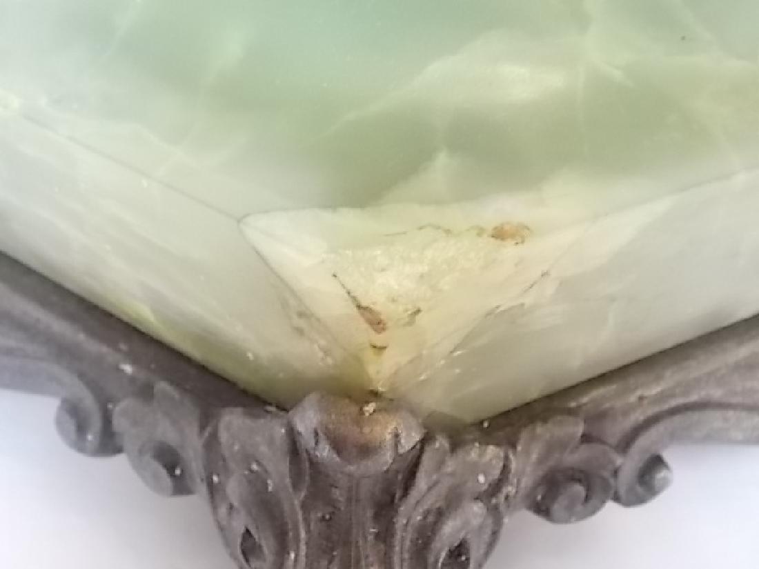 ANTIQUE VICTORIAN ART NOUVEAU GREEN ONYX LAMP - 9