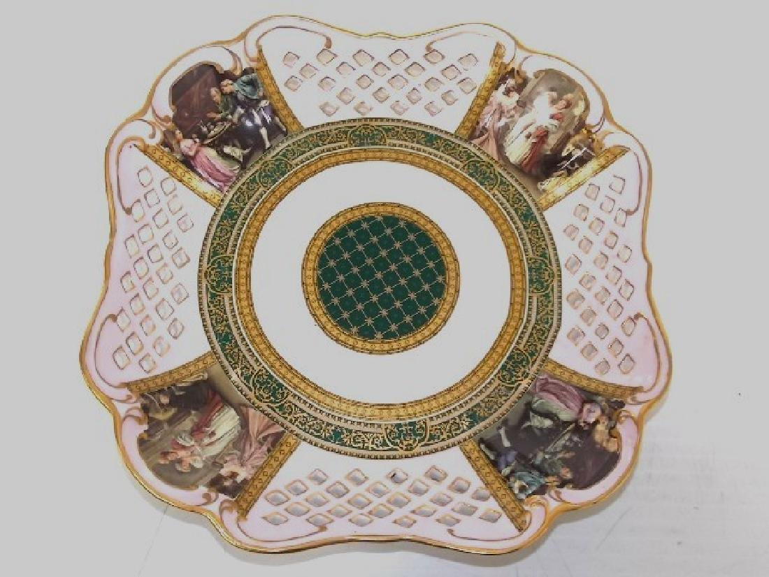 HAND DECORATED PIERCED PORCELAIN SQUARE SERVING PLATE