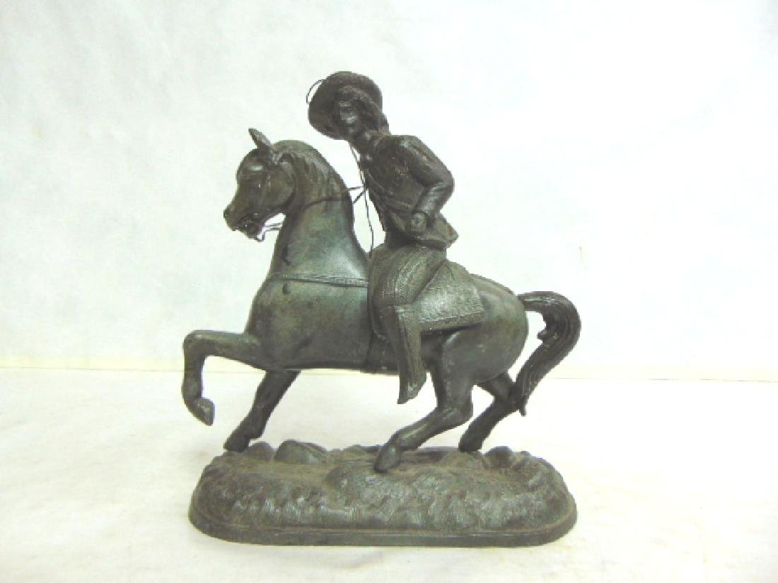 ANTIQUE CAST METAL  CAVALIER HORSE FIGURE CLOCK TOPPER