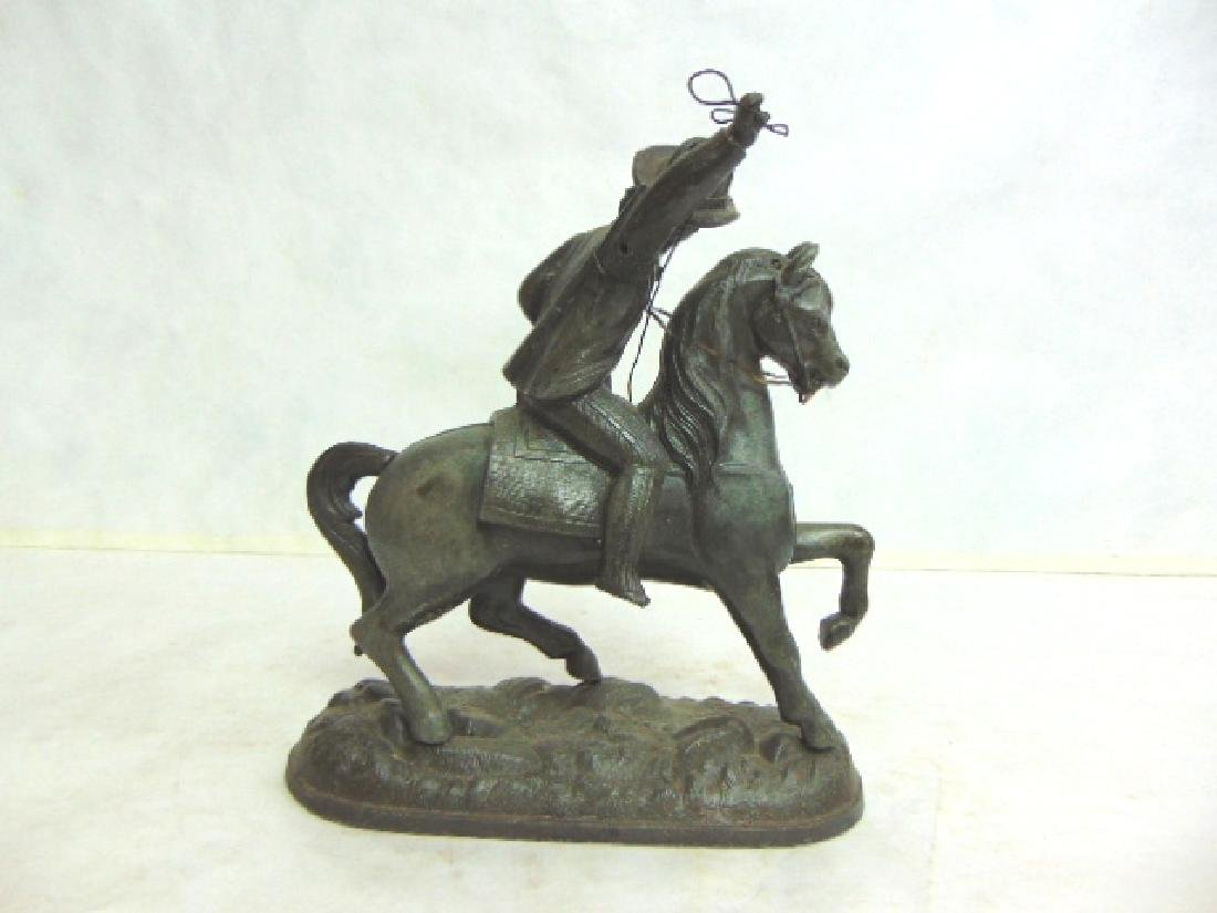 ANTIQUE CAST METAL  CAVALIER HORSE FIGURE CLOCK TOPPER - 2
