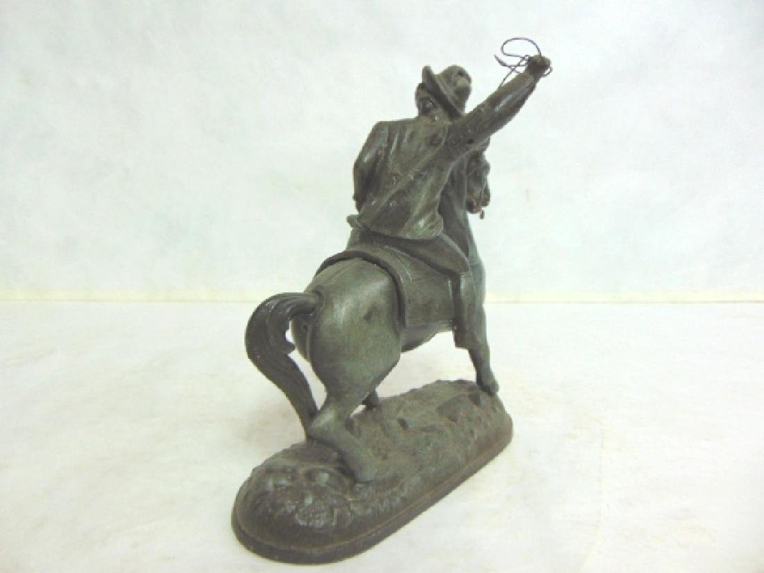 ANTIQUE CAST METAL  CAVALIER HORSE FIGURE CLOCK TOPPER - 4