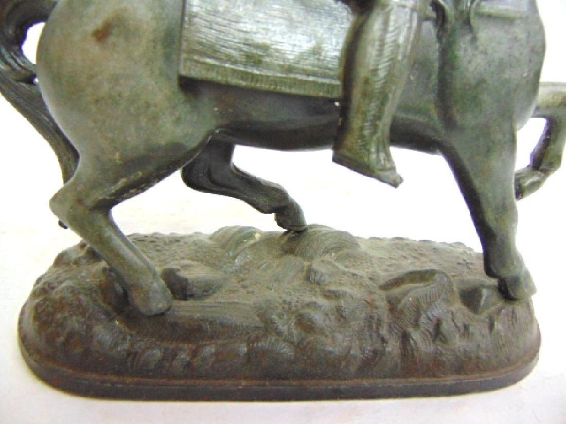 ANTIQUE CAST METAL  CAVALIER HORSE FIGURE CLOCK TOPPER - 5