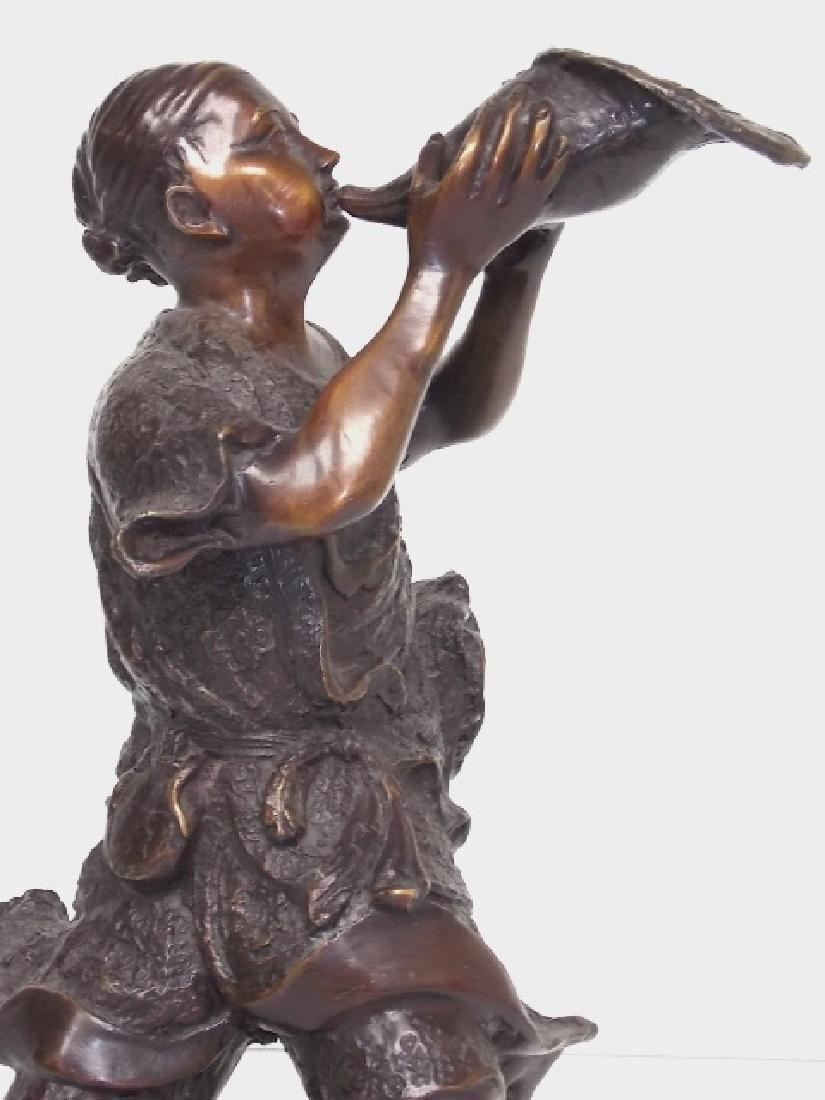 BRONZE JAPANESE FISHERMAN W/ SHELL HORN STATUE - 7