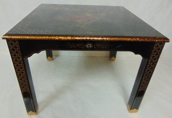 HAND PAINTED CHINESE BLACK LACQUERED SIDE TABLE - 2