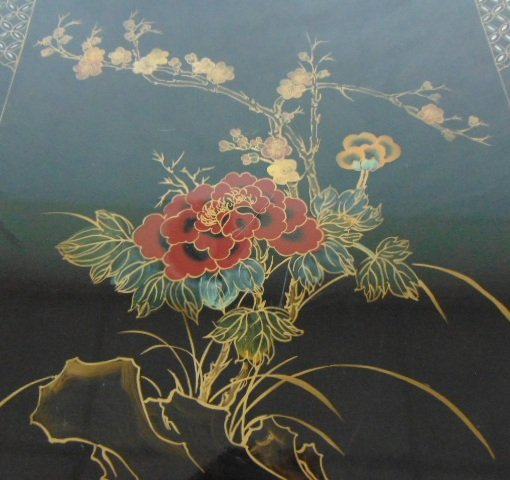 HAND PAINTED CHINESE BLACK LACQUERED SIDE TABLE - 3
