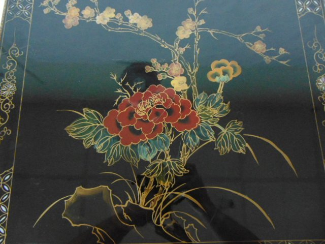 HAND PAINTED CHINESE BLACK LACQUERED SIDE TABLE - 4