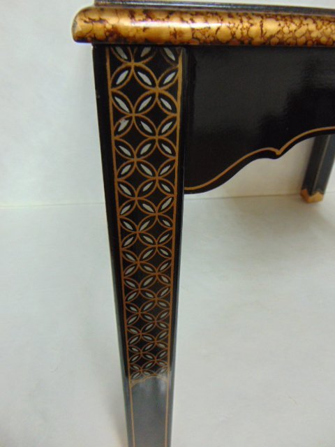 HAND PAINTED CHINESE BLACK LACQUERED SIDE TABLE - 5