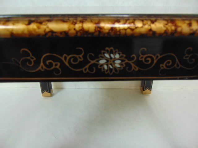 HAND PAINTED CHINESE BLACK LACQUERED SIDE TABLE - 6