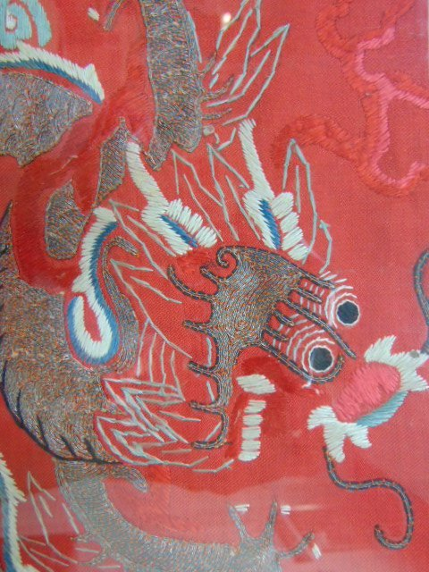 VINTAGE ANTIQUE CHINESE SILK KESI IMPERIAL DRAGON BADGE - 3