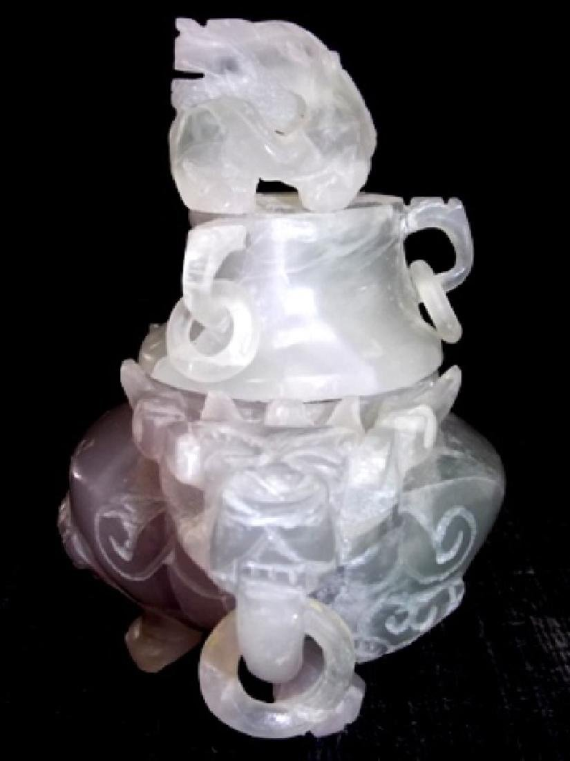 COLLECTIBLE CHINESE PURPLE JADE DRAGON INCENSE BURNER - 3