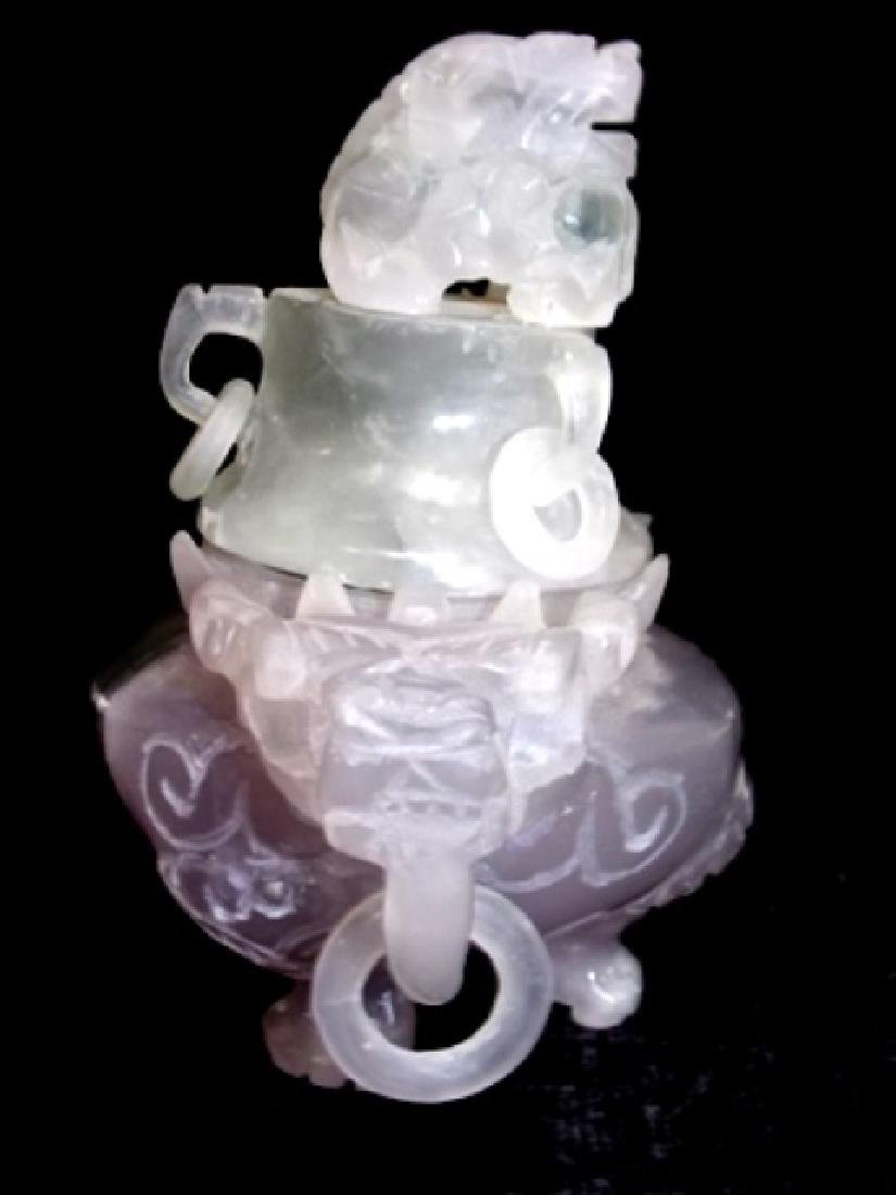 COLLECTIBLE CHINESE PURPLE JADE DRAGON INCENSE BURNER - 4