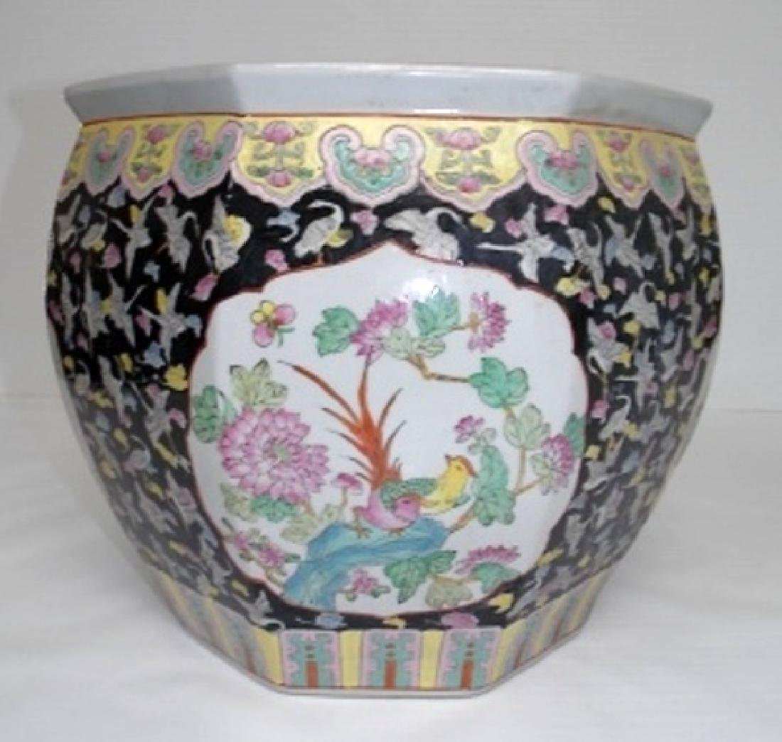 HAND DECORATED CHINESE PORCELAIN OCT FLOWER FISH POT