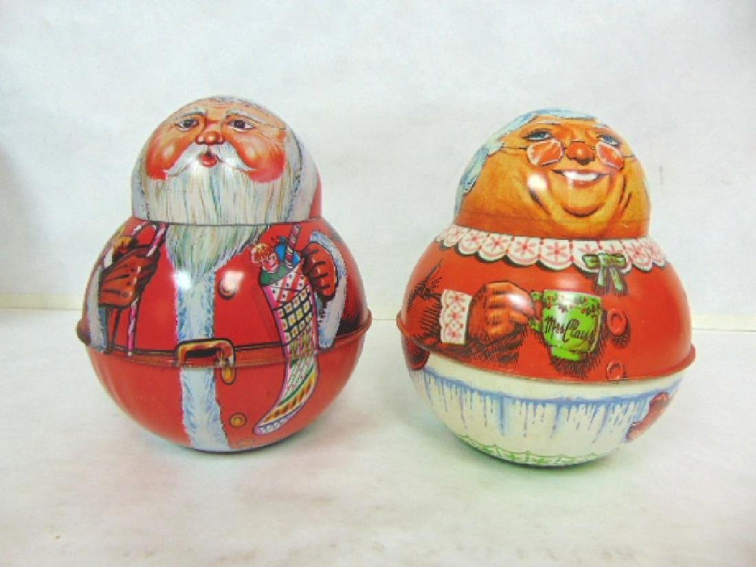 VINTAGE ROLY POLY SANTA & MRS CLAUS TIN LITHO CONTAINER