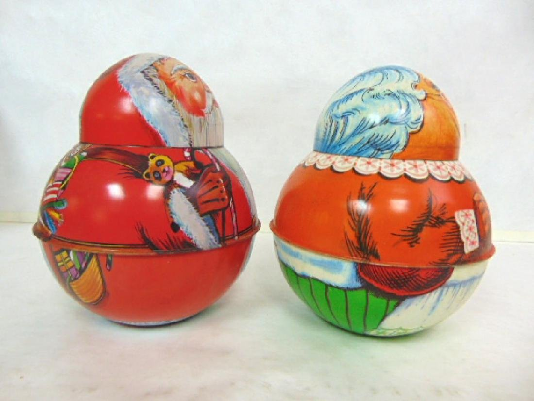 VINTAGE ROLY POLY SANTA & MRS CLAUS TIN LITHO CONTAINER - 2