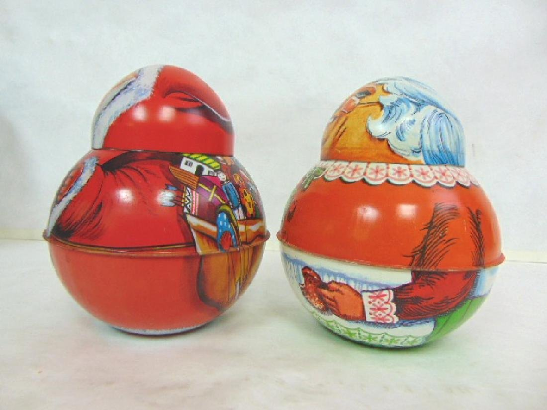 VINTAGE ROLY POLY SANTA & MRS CLAUS TIN LITHO CONTAINER - 4
