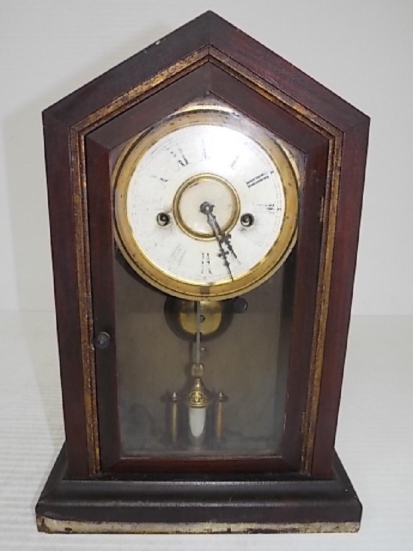ANTIQUE CATHEDRAL MANTLE CLOCK WATERBURY THOMAS GILBERT