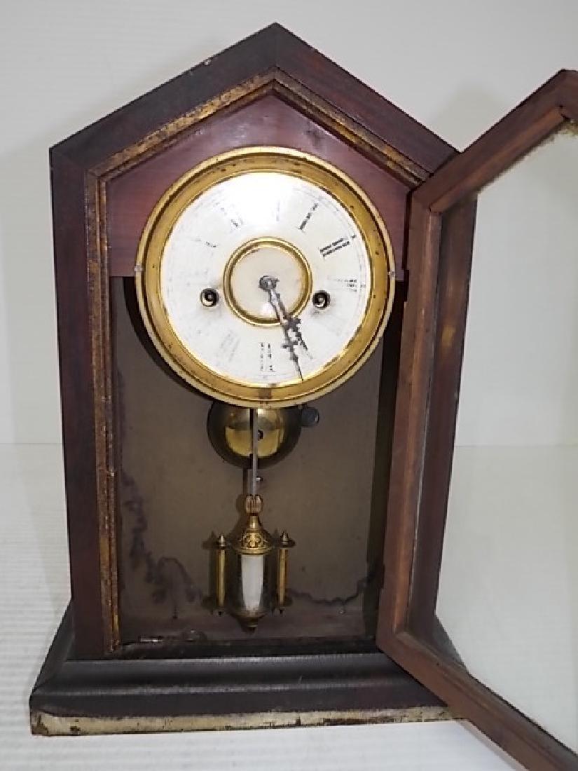 ANTIQUE CATHEDRAL MANTLE CLOCK WATERBURY THOMAS GILBERT - 2