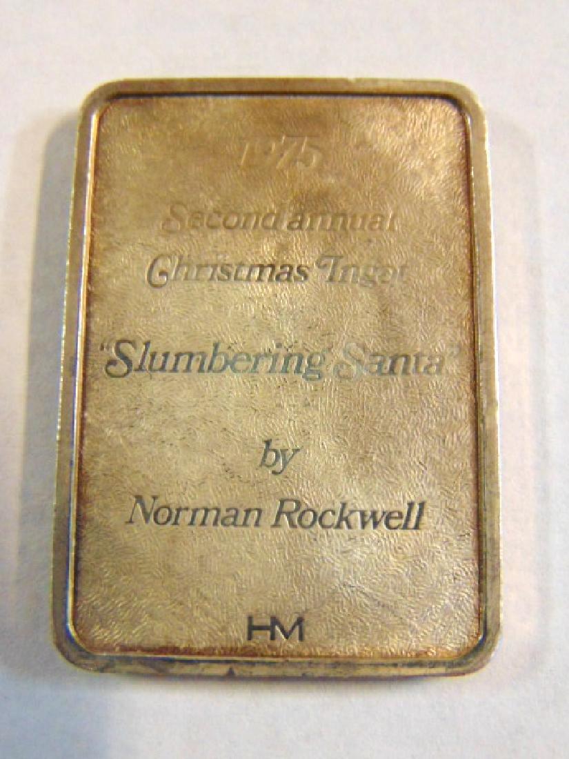 1975 NORMAN ROCKWELL SILVER SANTA CHRISTMAS INGOT - 2