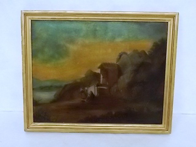 ANTIQUE OIL LANDSCAPE ON BOARD PAINTING - 2
